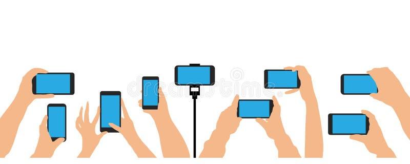 Hände, die Telefon, Smartphone halten Menge des Leuteereignisses, Konzert, Partei vektor abbildung