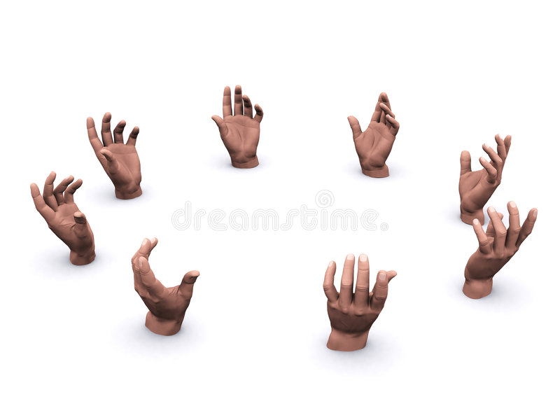 Hände in einem Kreis stockfotos