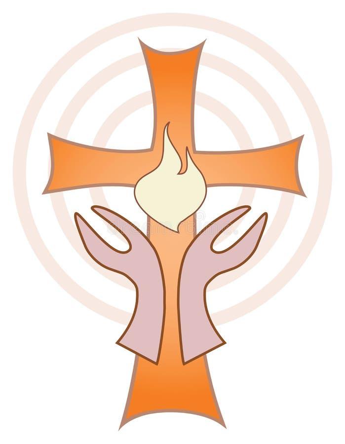 Hände gedreht in Richtung zum Kreuz mit Flamme vektor abbildung