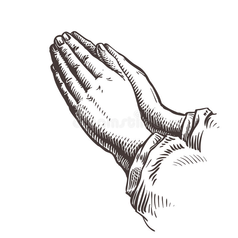 Hände gefaltet im Gebet Dieses ist Datei des Formats EPS8 lizenzfreie abbildung