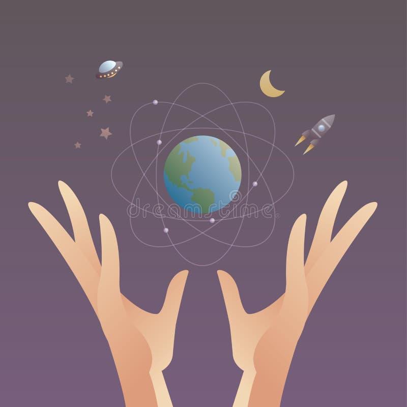 Hände hält Erde und Raum stock abbildung