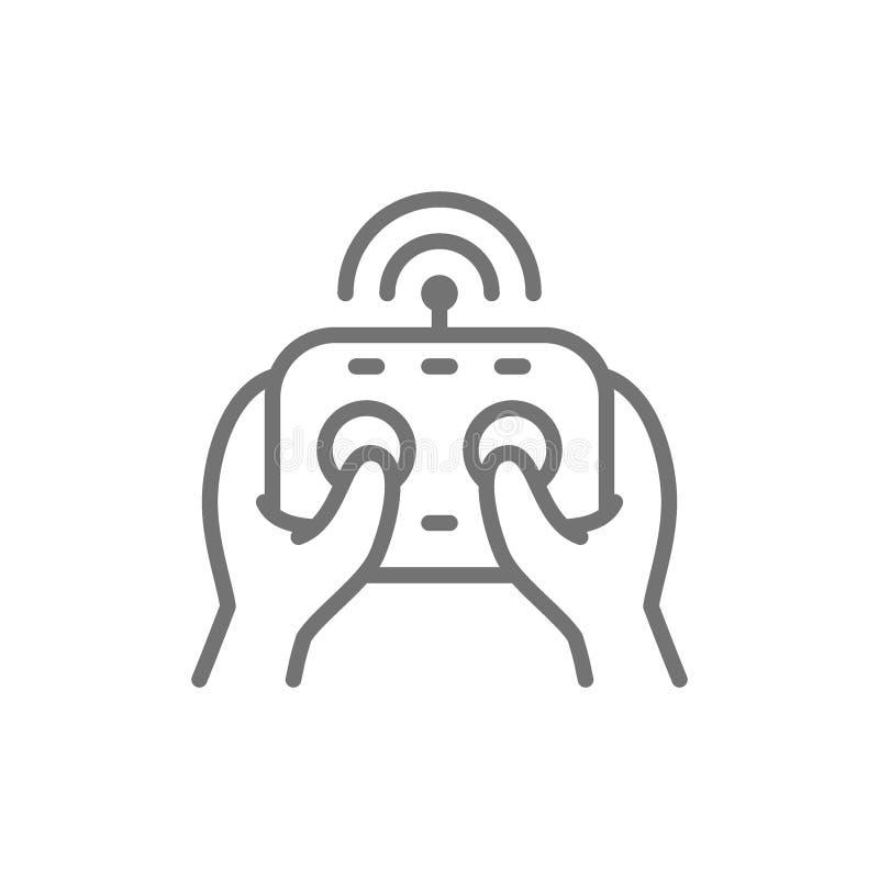 H?nde h?lt Fernkontrolleur, Bedienfeld f?r Brummen, gamepad Linie Ikone stock abbildung