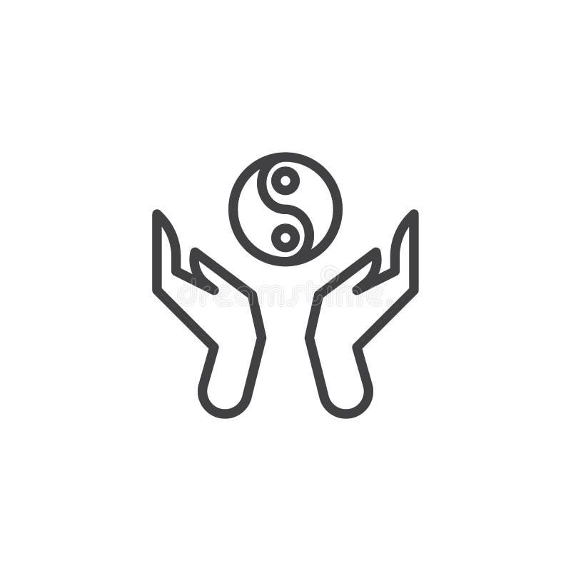 Hände halten ying Yang-Linie Ikone lizenzfreie abbildung