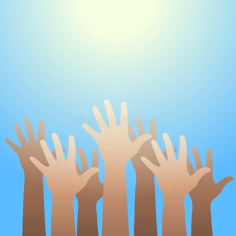 Hände hoben bis zum Licht an Glauben- und Hoffnungskonzept stock abbildung
