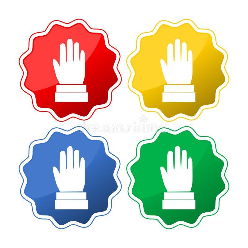 Hände hoben oben, Wahl- oder Abstimmungszeichenknopfsatz an lizenzfreie abbildung