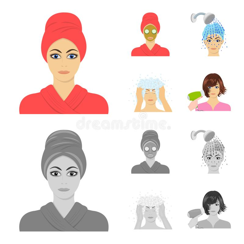 Hände, Hygiene, Cosmetology und andere Netzikone in der Karikatur, einfarbige Art Bad, Kleidung, bedeutet Ikonen in der Satzsamml lizenzfreie abbildung