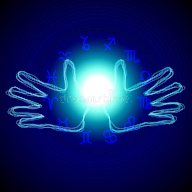 Hände mit Astrologiezeichen stock abbildung