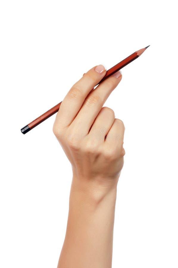 Hände mit Bleistift lizenzfreie stockfotografie