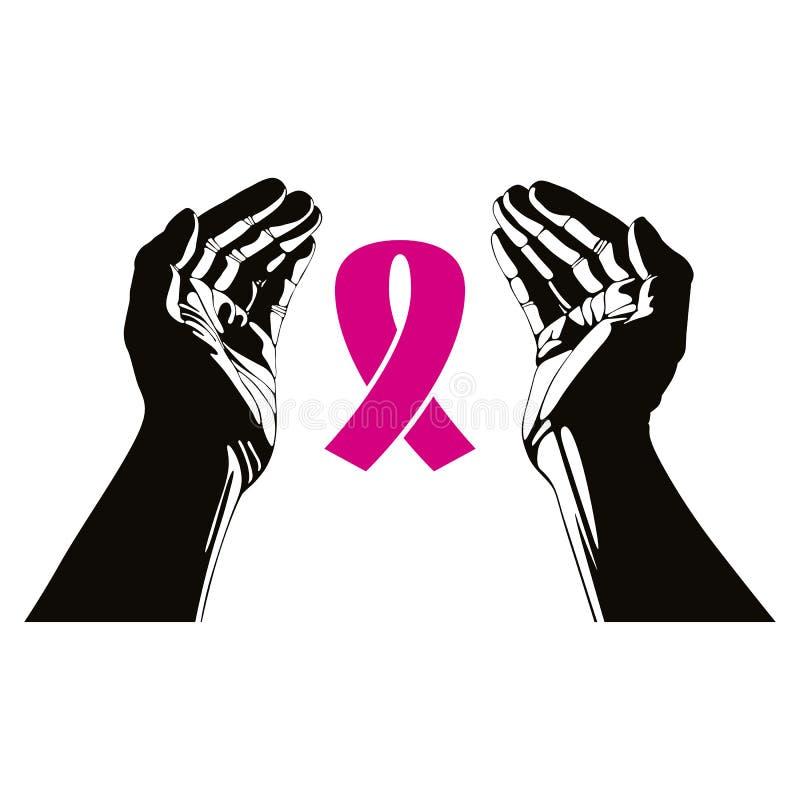 Hände mit Brustkrebs-Bandvektorsymbol stock abbildung