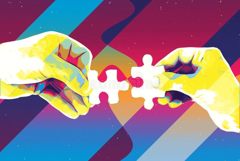 Hände mit dem abstrakten Hintergrund von zwei Puzzlespielstücken, moderner Illustration für Teamwork, Partnerschaft, Verhältnis,  vektor abbildung