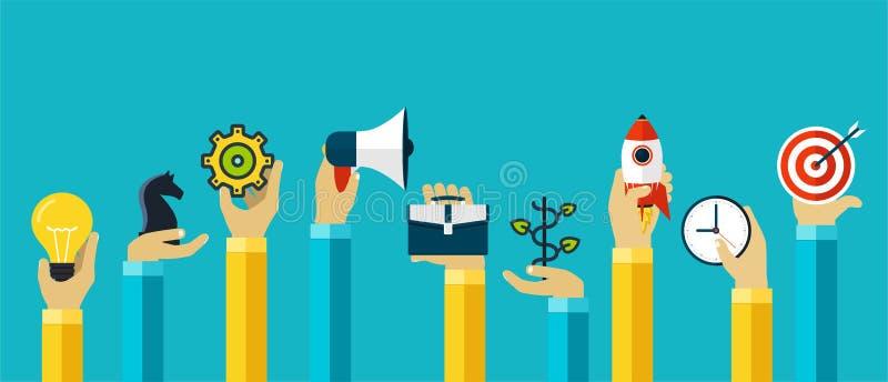 Hände mit den Motivierungsikonen für Firmenkundengeschäftplanung, das Ziel erzielend, Erfolg lizenzfreie abbildung