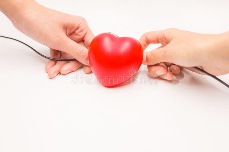 Hände mit der Aufladung verkabelt, um Herz, auf weißem Hintergrund wieder herzustellen zu helfen Herzkrankheitsschutz, proaktive  stockfoto
