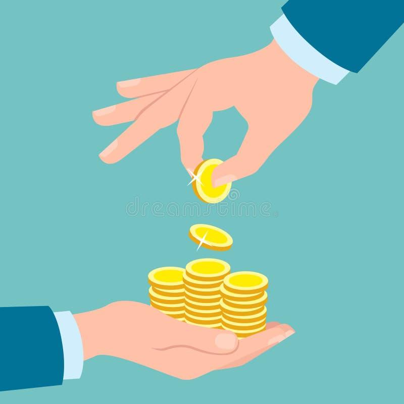 Hände mit goldenen Münzen stock abbildung
