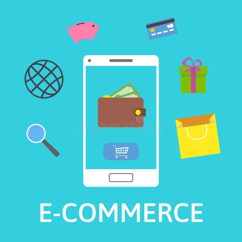 Hände mit Kreditkarte auf Computertastatur On-line-Geldbörse Smartphone mit Einkaufsikonen Online-Zahlung Flache Designvektorillu stock abbildung