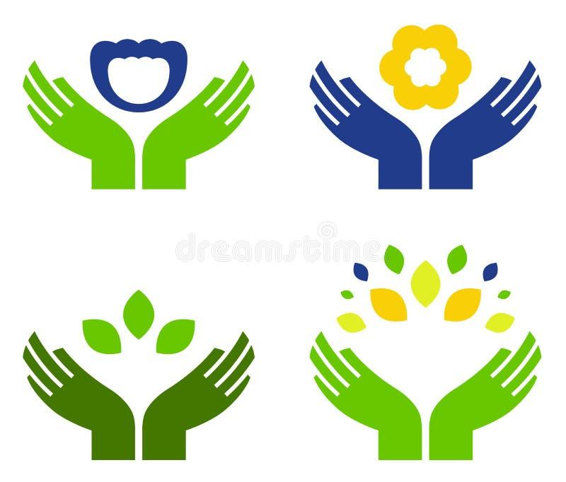 Hände mit Natursymbolen stock abbildung