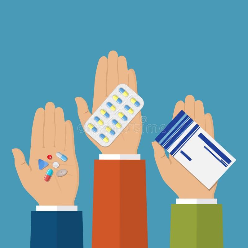 Hände mit Pillen lizenzfreie abbildung