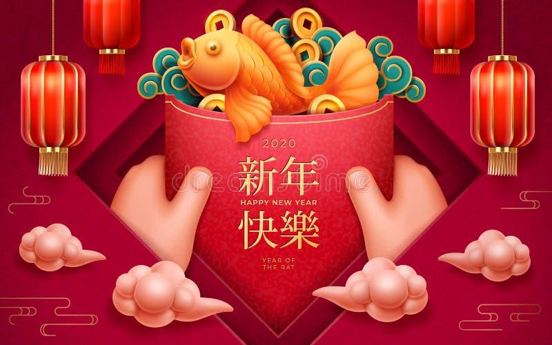 Hände mit rotem Umschlag für 2020 glückliches neues Jahr lizenzfreie abbildung