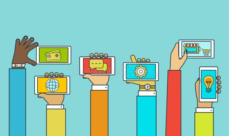 Hände mit Telefonen Bewegliches Anwendungskonzept mit Dienstleistungen lizenzfreie abbildung