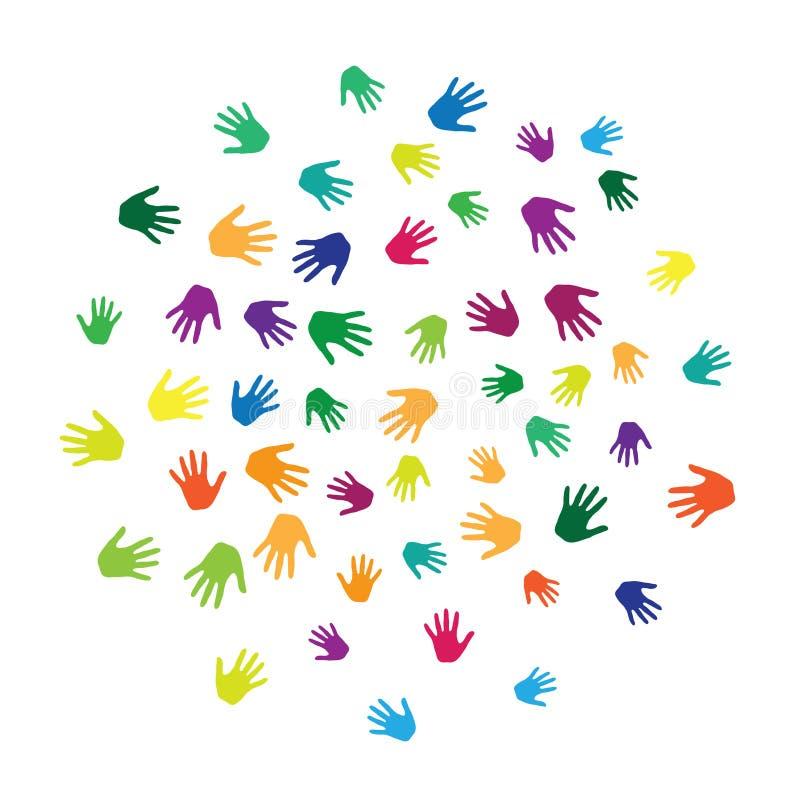 Hände, Palmen lokalisiert auf weißer Vektorhintergrundillustration lizenzfreie abbildung