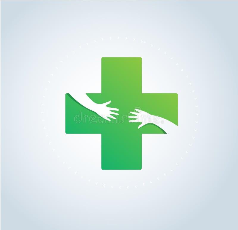 Hände umarmen im Krankenhausikonendesign, im Gesundheitswesen und im medizinischen Logosymbolvektor lizenzfreie abbildung