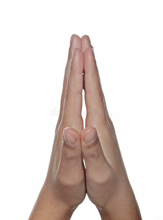 Hände umklammert im Gebet lizenzfreies stockbild