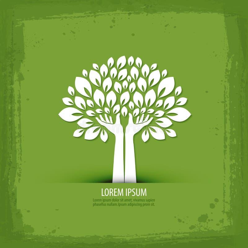 Hände und Baum Logo, Ikone, Zeichen, Emblem, lizenzfreie abbildung