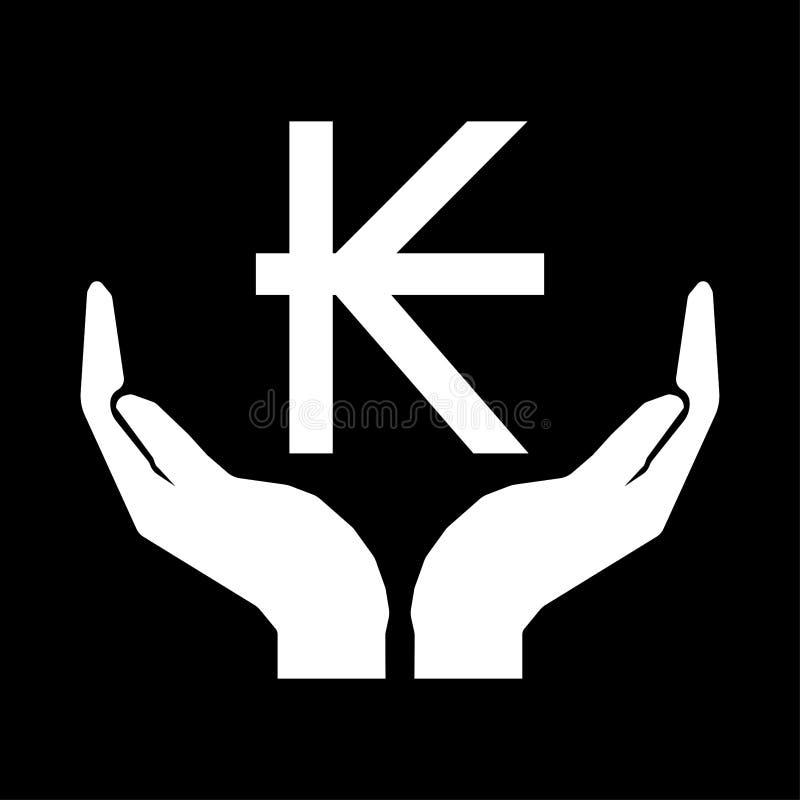 Hände und Geldwährung LAOS-KIP-Zeichen Mach's gut Geldzeichenweiß auf schwarzem Hintergrund stock abbildung
