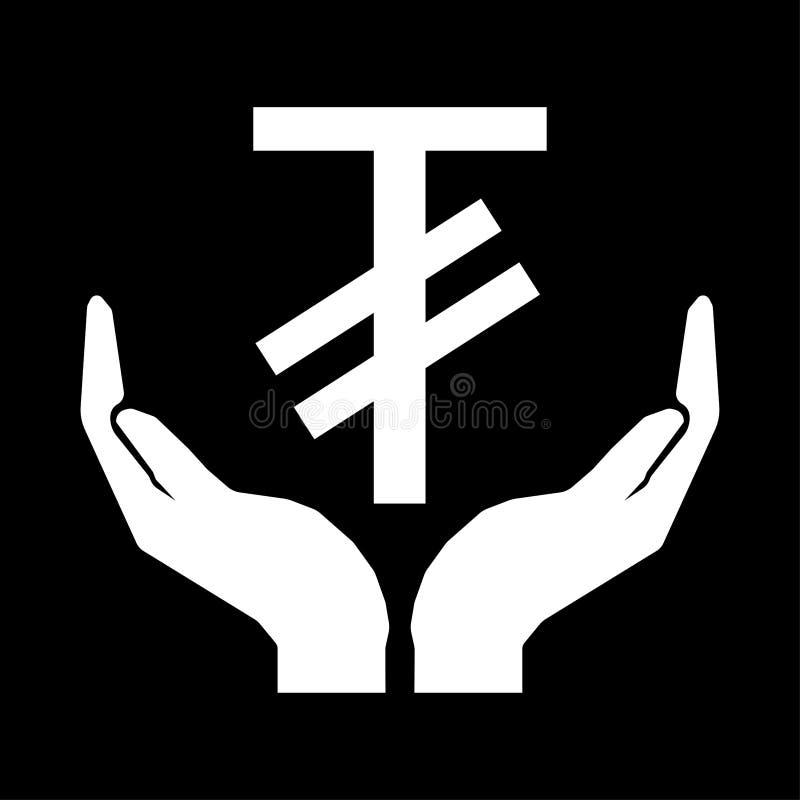 Hände und Geldwährung MONGOLEI-TUGRIK-Zeichenweiß auf schwarzem Hintergrund stock abbildung