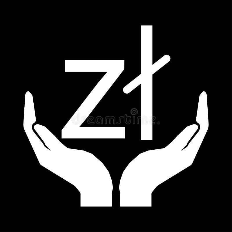 Hände und Geldwährung Zloty-Polen-Zeichenweiß auf schwarzem Hintergrund vektor abbildung