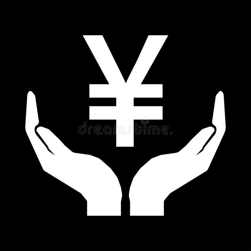 Hände und Geldzeichen Yuan China Mach's gut das Geldzeichen -, das auf schwarzem Hintergrund weiß ist stock abbildung