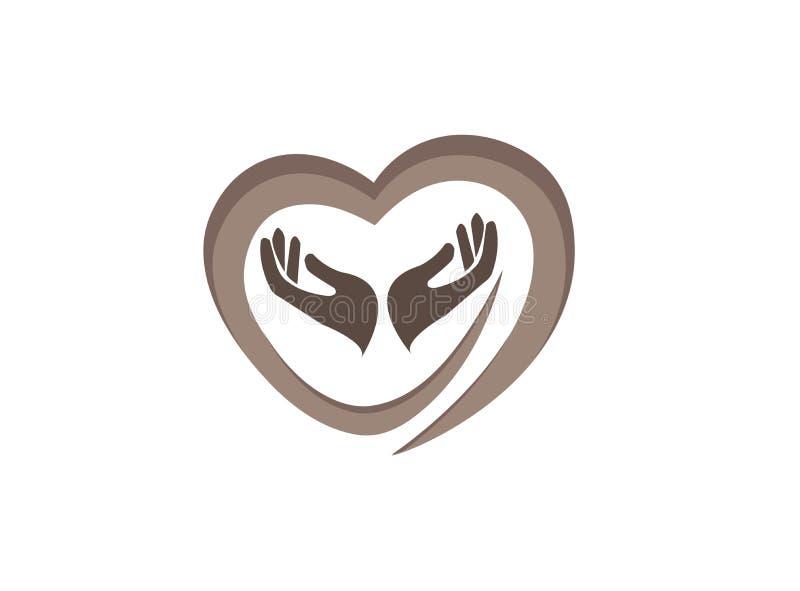 Hände und Herz, die menschliche Gesundheit für Logoentwurfs-Illustrationsvektor sich interessieren lizenzfreie abbildung