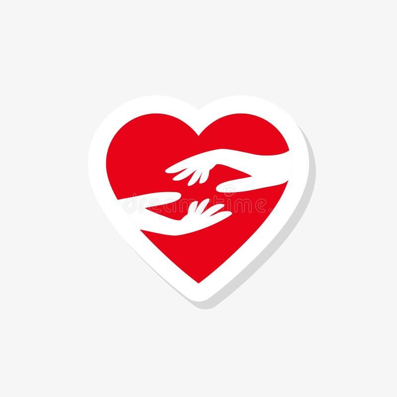 Hände und Herzaufkleber, Herzsorgfaltlogo vektor abbildung