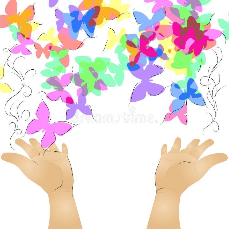 Hände und Schmetterling lizenzfreie abbildung