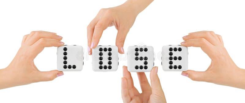 Hände und würfelt verlieren stockbild