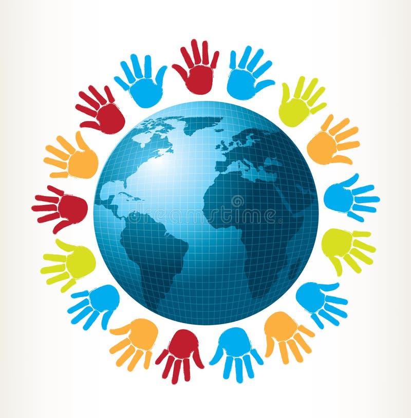 Hände und Welt lizenzfreie abbildung