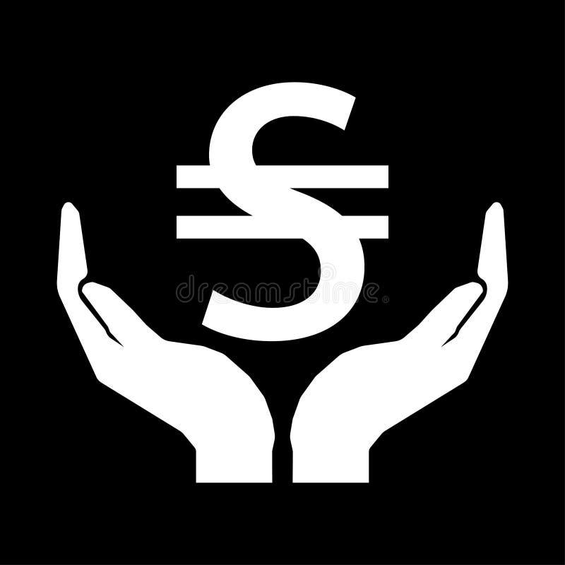 Hände und Zeichenweiß Geldwährung UKRAINE HRYVNIA auf schwarzem Hintergrund stock abbildung