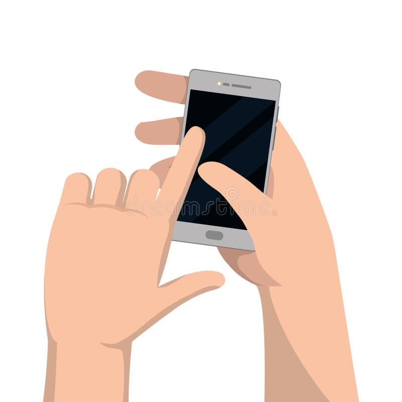 Hände unter Verwendung des Mobiltelefons lizenzfreie abbildung