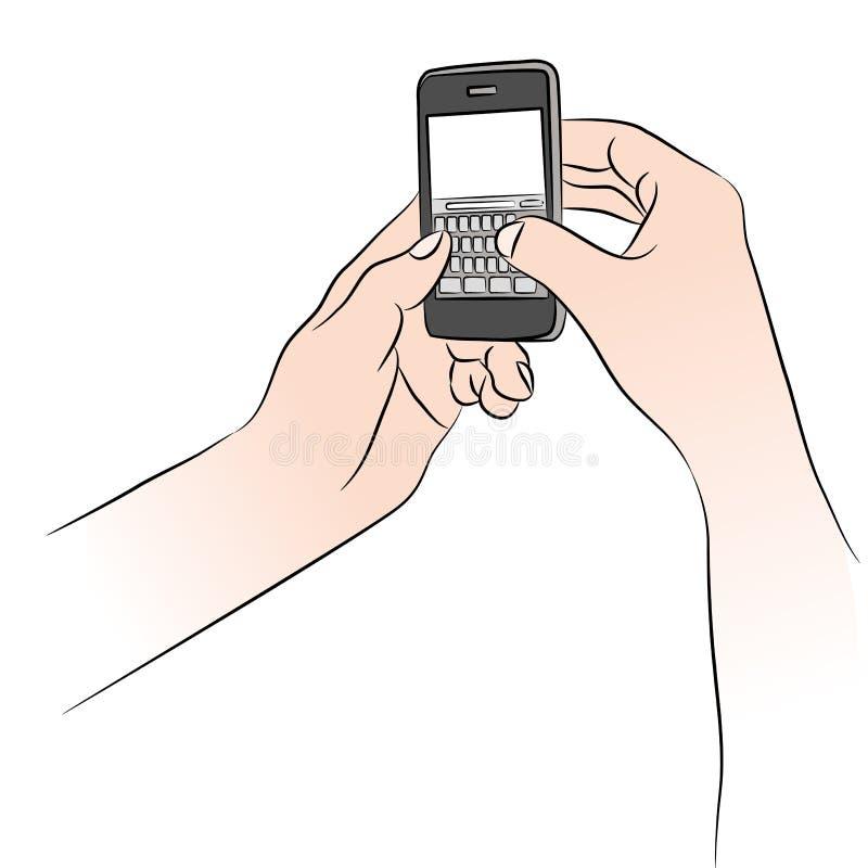 Hände unter Verwendung Smartphone lizenzfreie abbildung