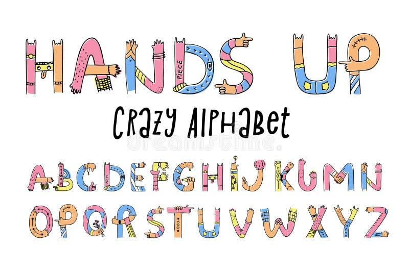 Hände up verrücktes Alphabet lizenzfreie abbildung