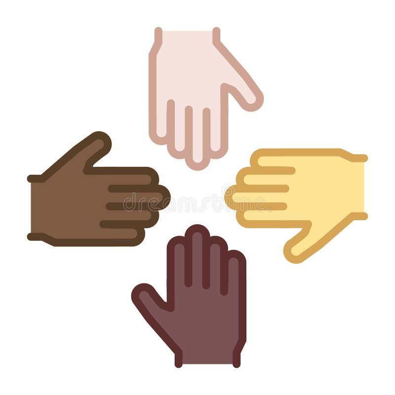 4 Hände von verschiedenen ethnischen Hintergründen und von Hautfarben team lizenzfreie abbildung