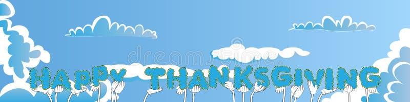 Hände, welche die Wort glückliche Danksagung halten lizenzfreie abbildung