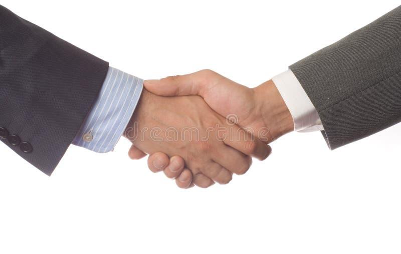 Händedruck auf weißem Hintergrund stockfoto