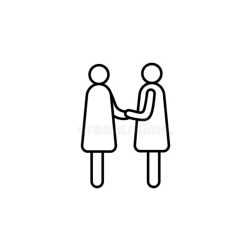 Händedruck der Frauenlinie Ikone Element der Hauptjagdikone für bewegliche Konzept und Netz apps Dünne Linie Händedruck der Fraue lizenzfreie abbildung