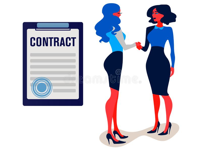 Händedruck der Teilhaber Geschäftsfrauen kamen zu einem Vereinbarungsvertrag vektor abbildung
