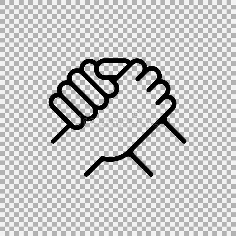Händedruck der Teilhaber Menschlicher Gruß Armdrückensymbol Auch im corel abgehobenen Betrag lizenzfreie abbildung