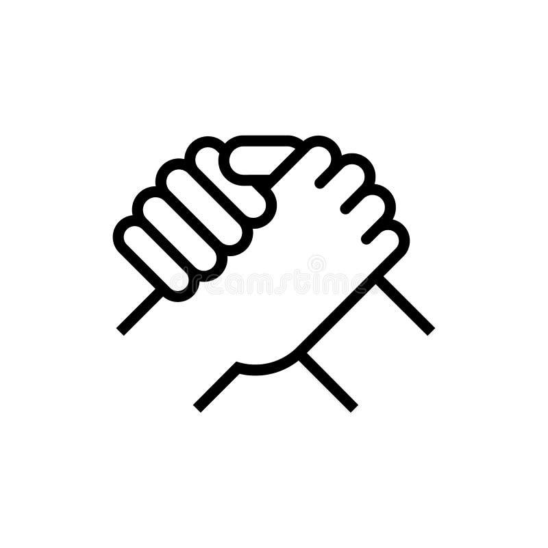 Händedruck der Teilhaber Menschlicher Gruß Armdrückensymbol Auch im corel abgehobenen Betrag vektor abbildung