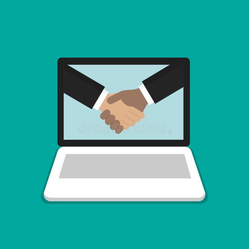 Händedruck des Geschäftsmannes Partnerschaftskonzept auf Laptop, flacher Karikaturentwurf des Computersymbols lizenzfreie abbildung
