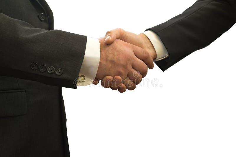 Händedruck, erfolgreiche Geschäftsmänner, welche die Hände, lokalisiert auf weißem Hintergrund rütteln lizenzfreie stockbilder