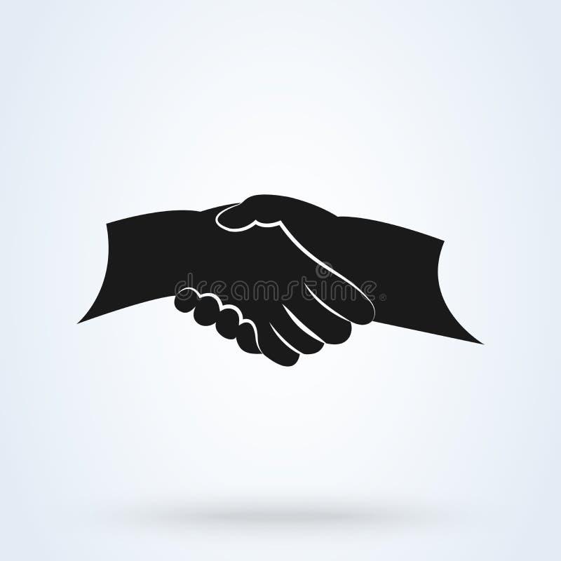 Händedruck-Freundschafts-Partnerschaftsvektor Schwarze Händedruckikone für Geschäft lizenzfreie abbildung
