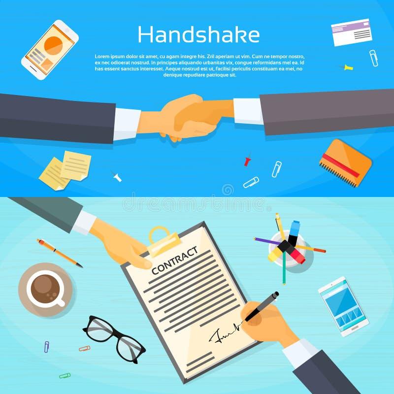 Händedruck-Geschäftsmann-Contract Sign Up-Papier lizenzfreie abbildung